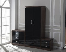 Conrad black gloss 2 door 2 drawer wardrobe