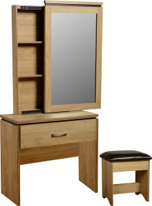 Carlos light oak effect narrow dressing table set