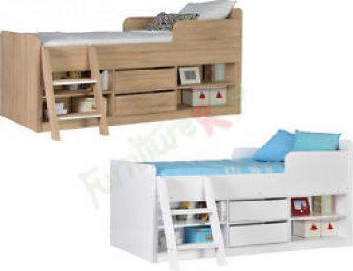 Felix low SINGLE sleeper bed in white or oak effect