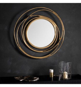 Allende round mirror in satin gold