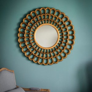 Claremont round mirror gold