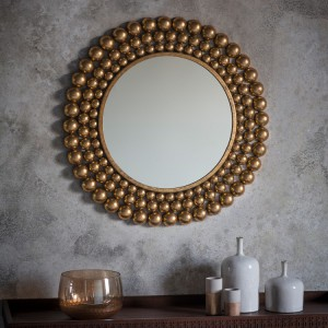 Clayton round mirror antique gold leaf