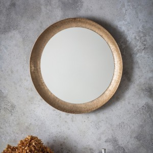 Hoban round mirror matt gold
