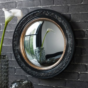 Langford convex round mirror black with gold
