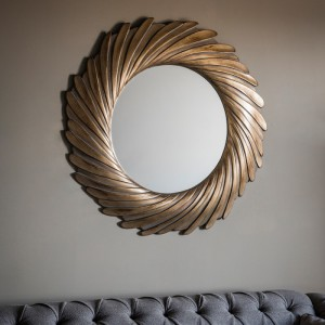 Lowry round mirror gold verdigree