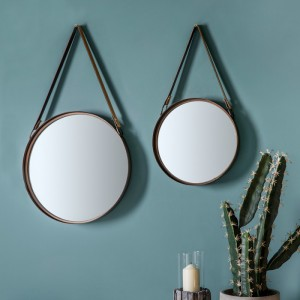 Marston round mirror small with leather hanging strap