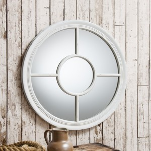 Somerford round mirror white