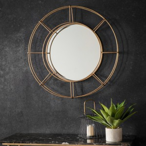 Thorne round mirror gold