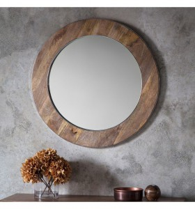 Torrington round mirror natural wood