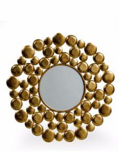 Gold balls round metal mirror