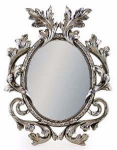 Fleur oval mirror antique silver