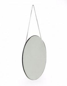 Vintage small oval mirror with chain