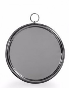 Polished aluminium round mirror with loop