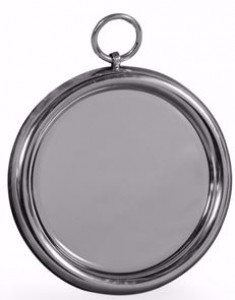 Polished aluminium small round mirror with loop