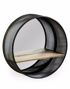Industrial round metal mirror with wooden shelf