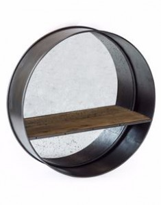 Camden large metal round mirror with shelf