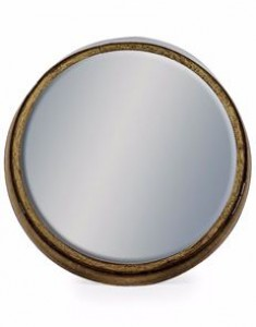 Deep Medium black bronze framed round cylinder mirror