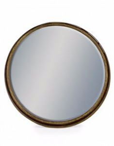 Deep Large black bronze framed round cylinder mirror