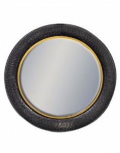 Lincoln large round black & bronze mirror