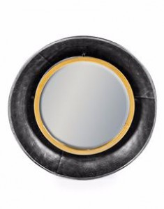 Lincoln small round black & bronze mirror