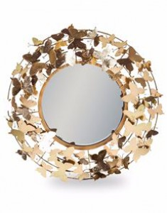 Butterfly gold round mirror