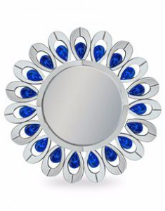 Peacock feather round venetian mirror