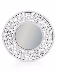 Round venetian mirror large diamond detail