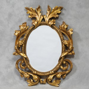 Fleur oval mirror antique gold