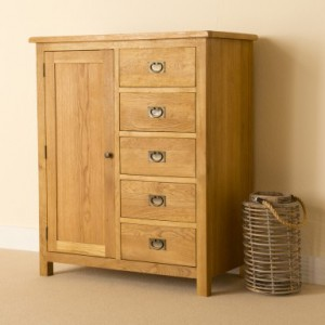 Erne lite oak combination wardrobe chest of drawers