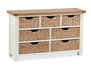 New england cream and oak 3 over 4 chest with baskets