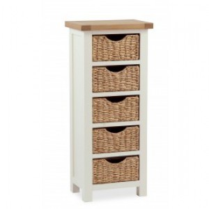 New england cream and oak tallboy chest with baskets