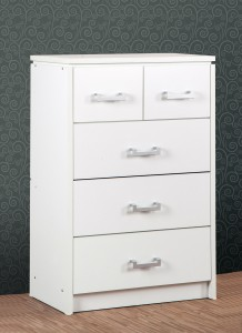 Carlos white 2 over 3 chest of drawers