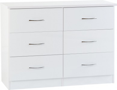 Neptune white gloss 6 drawer wide chest of drawers