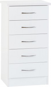 Neptune white gloss Tallboy chest of drawers