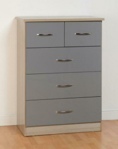 Neptune grey gloss 2 over 3 chest of drawers