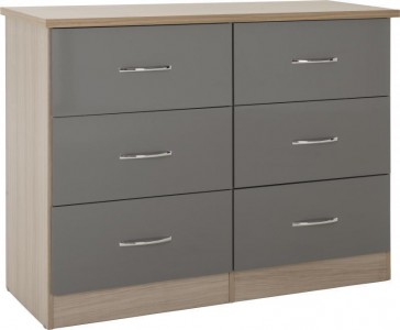 Neptune grey gloss 6 drawer wide chest of drawers
