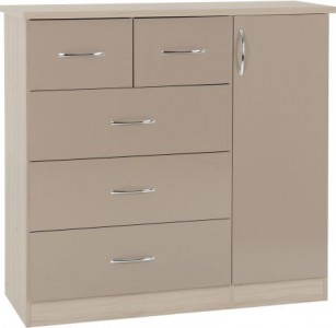 Neptune Oyster gloss chest of drawers wardrobe