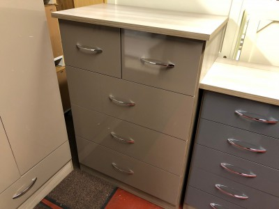 Neptune Oyster gloss 2 over 3 chest of drawers