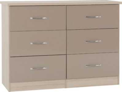 Neptune Oyster gloss 6 drawer wide chest of drawers