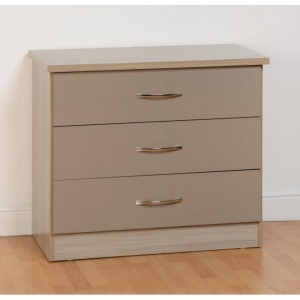 Neptune Oyster gloss 3 drawer chest of drawers