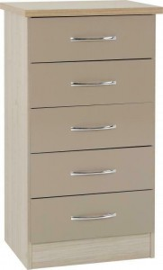 Neptune Oyster gloss Tallboy chest of drawers