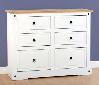 Corona White mexican pine 6 drawer chest of drawers