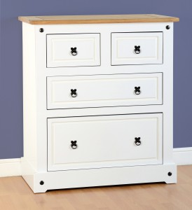 Corona White mexican pine 2 over 2 drawer chest of drawers