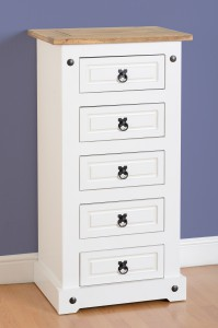 Corona White mexican pine 5 drawer tallboy chest of drawers