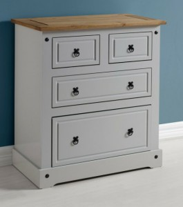 Grey mexican pine 2 over 2 drawer chest of drawers