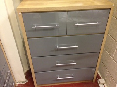 Seville grey gloss 2 over 3 chest of drawers