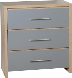 Seville grey gloss 3 drawer chest of drawers