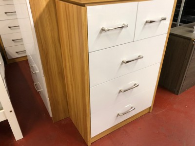 Conrad white gloss 2 over 3 drawer chest of drawers