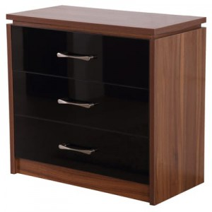 Conrad black gloss 3 drawer chest of drawers
