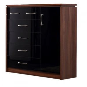 Conrad black gloss 6 drawer 1 door chest of drawers